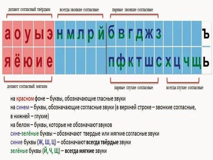 таблица гласных и согласных